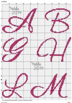 Cross Stitch Letters, Cross Stitch Baby, Embroidery Fonts, Hand Embroidery Patterns, Cross Stitching, Cross Stitch Embroidery, Christmas Alphabet, Wedding Cross Stitch, Stitch Patterns