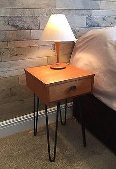 Vintage Retro 1960s pair teak bedside cabinet drawers on Industrial Hairpin legs