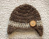 Newborn boy hat earflap hat baby boy hat photography prop barley and oatmeal wood button crochet knit infant boy hat - READY TO SHIP