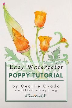 Easy Watercolor Tutorial: Vibrant Poppy Flowers. Includes learning how to mix colors to achieve the look of opaque, pastel leaves. Add colored pencils for a realistic poppy bud. Free line drawing to trace or print out. #watercolor #watercolorarts #waterco