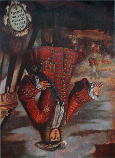 """Josep Amorós, """"Retrato de Felipe V expuesto boca abajo en el Museo de l'Almudí, en Játiva, por haber incendiado la ciudad en 1707"""" 1720"""