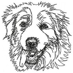 """1 GREAT PYRENEES  / 12"""" x 12""""  White Square Dog Quilt Block"""