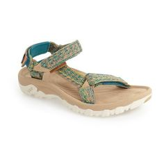 Women's Teva X Jhene Aiko 'Hurricane Xlt' Sandal ($70) ❤ liked on Polyvore featuring shoes, sandals, multi, braided sandals, utility shoes, patterned shoes, rugged shoes and woven shoes