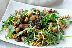 Kraina Smaków: Makaron z kurczakiem, suszonymi pomidorami i rukolą Kung Pao Chicken, Meat, Ethnic Recipes, Food, Essen, Yemek, Meals
