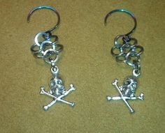 Skull and Crossbone Chainmaille Earrings