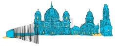 Berlin Germany Colored Panorama by Hebstreit #drawing #sketch #travel #pen #download #digital #vector #art #stockimage #hebstreit