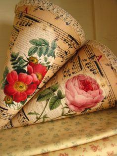 Cornets with rose Burlap, Reusable Tote Bags, Hessian Fabric, Jute, Canvas