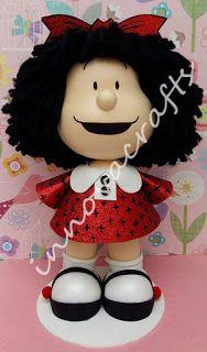 fofucha Mafalda en fomi/goma eva/ foamy Foam Crafts, Diy Crafts, Lalaloopsy, Crochet, Biscuit, Pasta Flexible, Cold Porcelain, Handmade Crafts, Polymer Clay