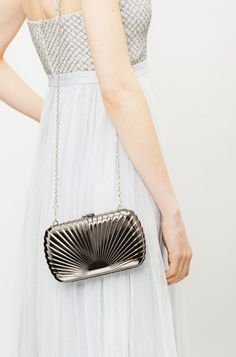 Rae Metallic Gunmetal Deco Clutch Bag. Prom & Occasion art deco style metal hard case clutch bag by Vintage Styler