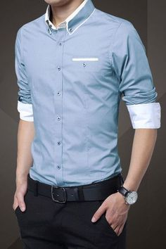 Light Blue Cotton Squared-Off Collar Classic Mens Shirt Buy the Latest Brand Men Casual Shirts and Online Business Formal Shirt at fashion cornerstone. Discounts all season long. Slim Fit Casual Shirts, Formal Shirts For Men, Men Casual, Tailored Shirts, Moda Formal, Herren Outfit, Look Cool, Mens Suits, Shirt Style