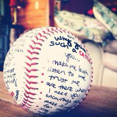 I want to do this for my boyfriend he loves baseball. He played it all through out high school this would be so cute! :)