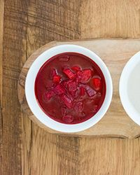 Chunky Red Beet-and-Tomato Soup Recipe on Food & Wine - Fantastic added some Italian sausage and wow it rocked.