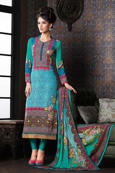 Light #blue multicoloured crepe silk #trendy straight cut #kameez with semi collar-SL4717