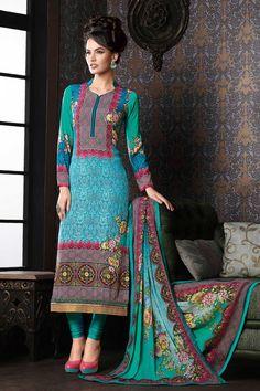 Light #blue multicoloured crepe silk #trendy straight cut #kameez with semi collar-SL4717