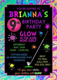 Neon Mini Golf cumpleaños invitación por PaperDollDesigns14 en Etsy