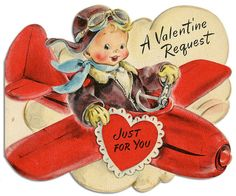 Flying by with oodles of vintage Valentine's Day cuteness! #cute #vintage #Valentines #card #airplane