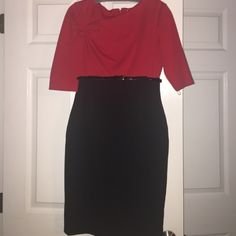 Calvin Klein Red and Black Belted Dress Calvin Klein Red and Black Belted Dress - Size 6 Calvin Klein Dresses Midi