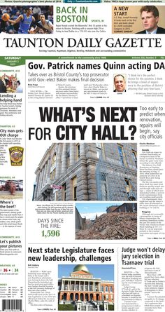 The front page of the Taunton Daily Gazette for Saturday, Jan. 3, 2015.