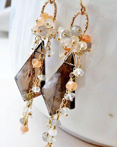 Dangle gemstone earrings Smoky quartz with by PingyPieJewelry, $153.00