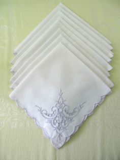 Vintage Eight (8) Napkins with Lavender Embroidery, Vintage Wedding, Garden Party, Cottage Chic by ForgetMeNotVintageTN