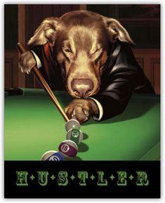 Hustler Lucky Sharky Ace by Taylor Set of 4 Dogs Playing Poker Pool Art Prints | eBay
