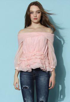Creamy Organza Off-shoulder Top in Pink - Retro, Indie and Unique Fashion