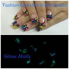Glow in the dark nails #GlowInTheDark #stainedglass #coloredacrylic  #nailsbytammy
