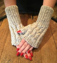 Fingerless Gloves-Wrist Warmers-Cable Knit Fingerless Mittens-Winter Mitts-Texting Mitts-Hand Knit Gloves-Knit Light Stone Fingerless Mitts