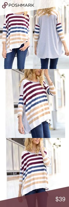🆕CHARLIZE 3/4 sleeve striped top - BLUE mix What vibrant colors for this 3/4 sleeve top! Great transitional piece to rock now into spring & summer. MADE IN USA. 🚨🚨NO TRADE, PRICE FIRM🚨🚨 Bellanblue Tops Blouses