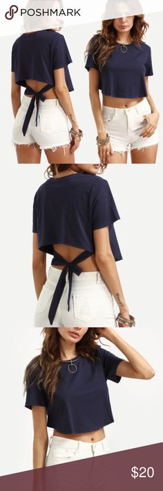 QUICK SALE Self Tie High/Low Crop Tee Size in pictures , brand new in package, High demand product! Material is Cotton with some stretch, one size fits most Tops Crop Tops