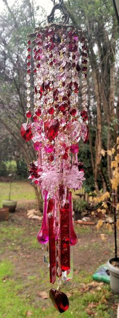 Antique Crystal Wind Chime Red and Pink Crystal by sheriscrystals Crystal Wind Chimes, Glass Wind Chimes, Diy Wind Chimes, Stained Glass Birds, Stained Glass Panels, Mobiles, Sun Catchers, Mirror Mosaic, Mosaic Wall
