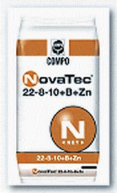 NovaTec® 22-8-10 + B, Zn  Σύνθεση: 22% N (10% νιτρικό και 12% αμμωνιακό), 8% P2O5, (υδατοδιαλυτός 6%), 10% K2O υδατοδιαλυτό  Ιχνοστοιχεία: 0,3%B, 0,1% Zn.  Ιδανικό για κάθε καλλιέργεια με αυξημένες απαιτήσεις σε άζωτο και κάλιο και λιγότερο σε φώσφορο. Συσκευασίες: σάκοι των 40 και 25 κιλών.