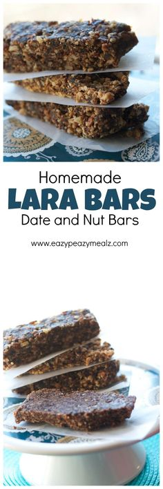 Date and nut bars are perfect for a healthy snack and energy boost! Great for post work out re-fueling! - Eazy Peazy Mealz