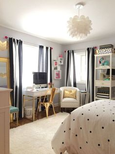 pretty-black-and-white-bedroom-for-girls