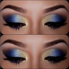 12 Gorgeous Blue and Gold Eye Makeup Looks and Tutorials Beautiful blue and gold smokey eye makeup - Das schönste Make-up Gold Eyeliner, Gold Eye Makeup, Smokey Eye Makeup, Beauty Makeup, Smoky Eye, Mermaid Eye Makeup, Makeup Shayla, Peacock Makeup, Sparkly Makeup