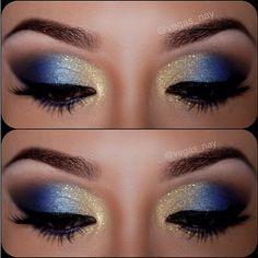 dorado y azul