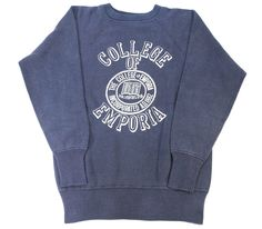 60's '' COLLEGE OF EMPORIA '' luxury four-stage print!  College Sweat absolute size (ML position)