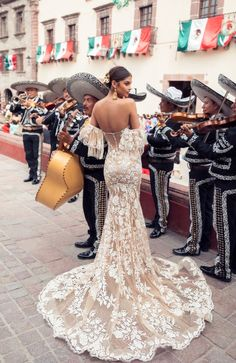The Stunning 2019 San Miguel Wedding Dress Collection From Julie Vino - Girl Gets Wed Mexican Theme Dresses, Mexican Wedding Dresses, Spanish Dress Flamenco, Weeding Dress, Spanish Lace Wedding Dress, Flamenco Wedding, Charro Wedding, Mexican Themed Weddings, Wedding Looks
