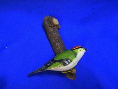 Vintage German Wood Carved Bird Wall Ornament Figurine #P2