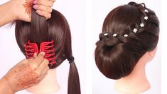 new latest trending hairstyle with clutcher Latest Braided Hairstyles, Wedding Bun Hairstyles, Box Braids Hairstyles, Trending Hairstyles, Girl Hairstyles, Casual Hairstyles, Up Dos For Medium Hair, Medium Hair Styles, Curly Hair Styles
