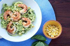 Avocado-Basil Zucchini Noodles with Chile-Lime Shrimp and Corn