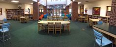 Good Over all Picture of the HUB for Central York Middle School.  For more information contact us at www.jpjay.com School Library Design, Middle School Libraries, Library Furniture, School Community, Learning Spaces, Wood Design, 21st Century, York, Modern