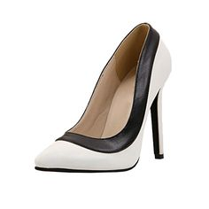 Women-Black-White-Contrast-Color-Pointed-Toe-Stilettos-High-Heels-Party-Shoes
