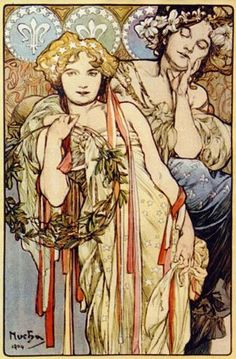 "Alphonse Mucha, ""Friendship"""