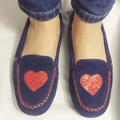 ✨NWOT ✨I ❤️ UGG slippers ✨ Navy UGG slippers with red, glitter and sequins  hearts on top and side. Brand new, never worn except for picture! Do not come in box as I bought them without! Super comfortable! UGG Shoes