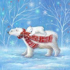 Artist and Freelance Illustrator Christmas Scenes, Noel Christmas, Christmas Animals, Vintage Christmas Cards, Christmas Pictures, Winter Christmas, Xmas, Illustration Noel, Christmas Illustration
