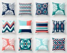 Throw Pillows Pillow Covers Navy Aqua Coral Teal by HLBhomedesigns
