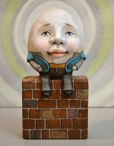 Humpty Dumpty Anthropomorphic Egg Original by CartBeforeTheHorse