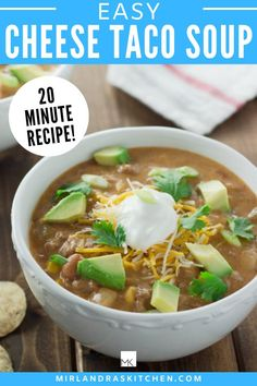 This is a delicious recipe for taco Tuesday! Cheese taco soup is all the best stuff about tacos in a satisfying soup! This easy 20 minute soup has ground beef, beans, and CHEESE. Make it mild or spicy. #taco #mexican #beans Easy Chicken Recipes, Pasta Recipes, One Pot Meals, Easy Meals, Beef Taco Seasoning, Cheese Tacos, Healthy Dinner Options, Vegetarian Desserts, Good Food