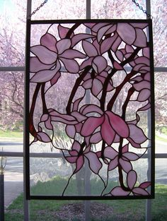 stained glass pink flowers